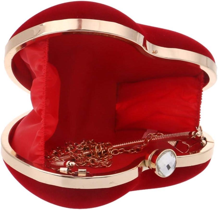 Color : Red MATCHANT Womens Heart Shaped Clutch Bag Evening Handbag