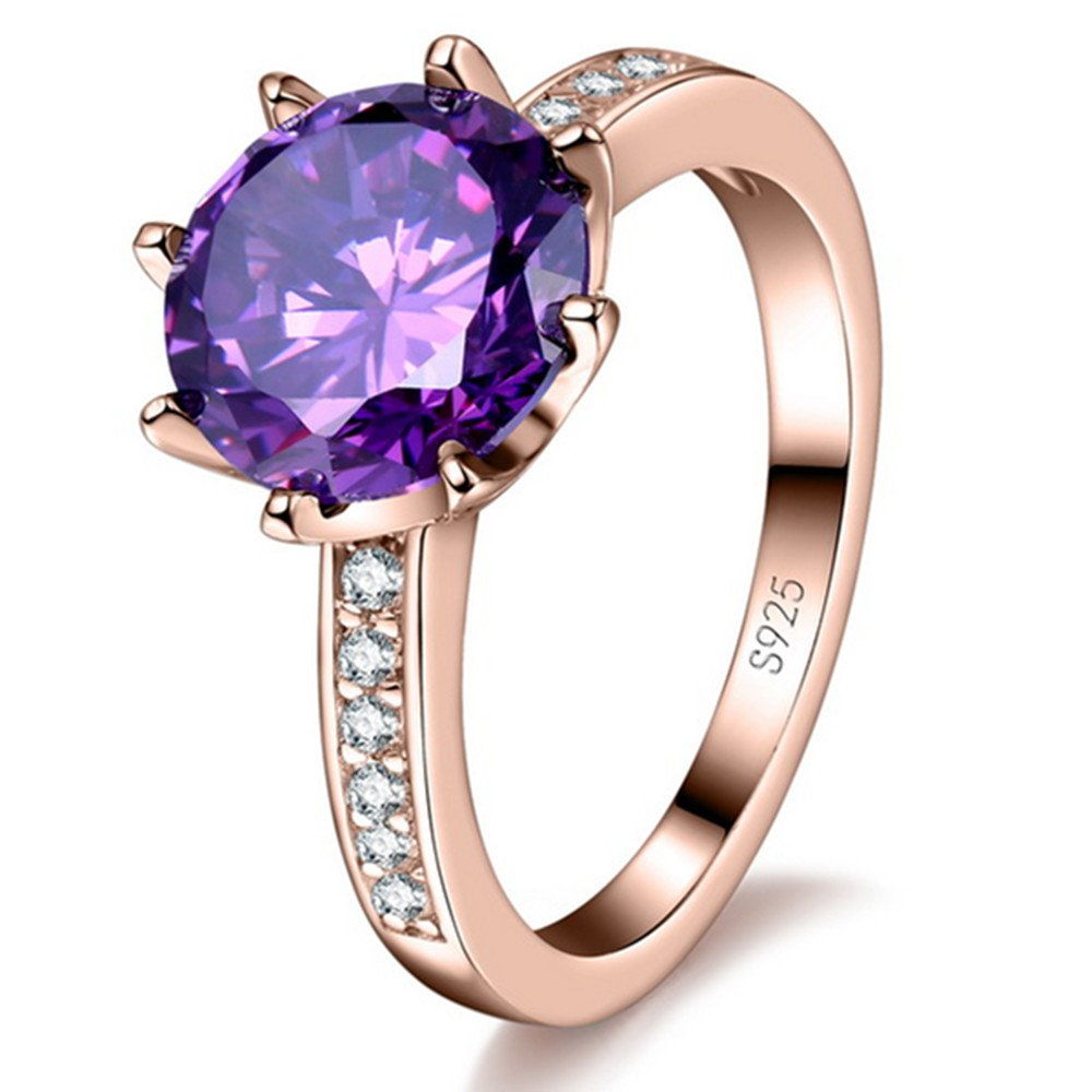 jemmin Classic True Love CZ Cubic Zircon Princess Wedding Engagment Rings (Rose Gold Plated.7)