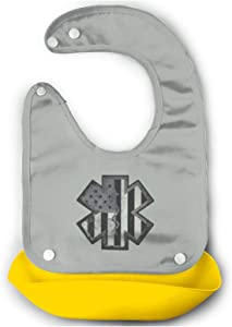 American Subdued EMS Soft Adjustable Silicone Baby Bibs with Food Catcher Pocket for Newborn Baby