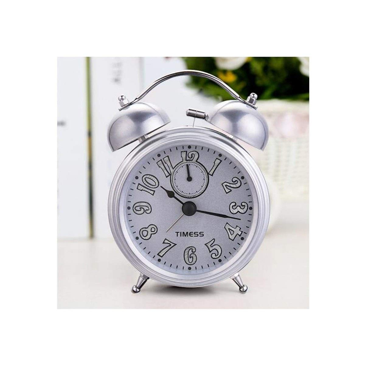 Chenjinxiang01 Alarm Clock, Stylish Silent Student Bedside Clock, Creative Metal Bell Night Light Alarm Table, Silver, ( color   Silver )