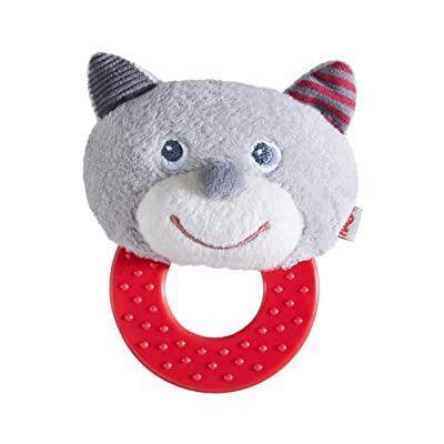 HABA Chomp Champ Cat Teether - Soft Lightweight Rattle with Plastic Teething Ring for Babies from Birth and Up: Toys & Games