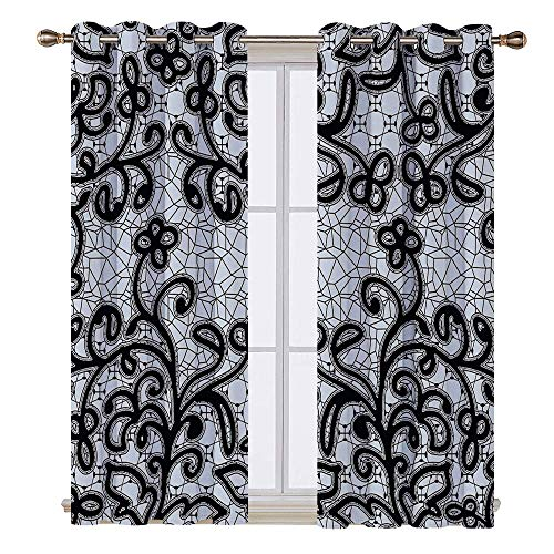 SATVSHOP Window Treatments Curtains Valance for Living Room - 63W x 63L Inch-Lace Seaml s Abstract Cracked Like Floral Ivy Swirl Pattern Artwork Black and Light Purple Grey.