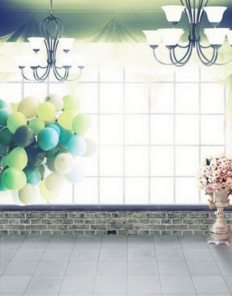 A Monamour明るいグリッドウィンドウ木製フラワーシャンデリアライトバルーンウェディングStudio Props画像Backdrops   B01MRGLUXI
