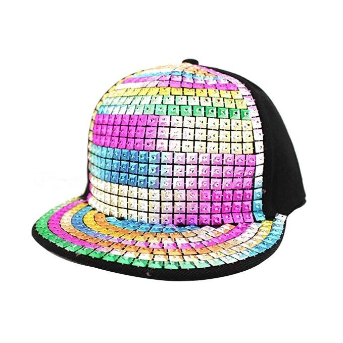 Los Niños Unisex Brillante De Lentejuelas Gorra De Béisbol Reflectantes Rhinestone Remaches Hip Hop Sombreros Para Mujer Para Hombre: Amazon.es: Ropa y ...