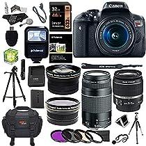 Canon EOS Rebel T6i 24.2 MP Digital SLR Camera 18-55mm STM Lens + Canon EF 75-300mm f/4-5.6 III Lens + Polaroid .43x HD Wide Angle Lens & 2.2X Telephoto Lens + Lexar 32 GB + Tripod + Accessory Bundle