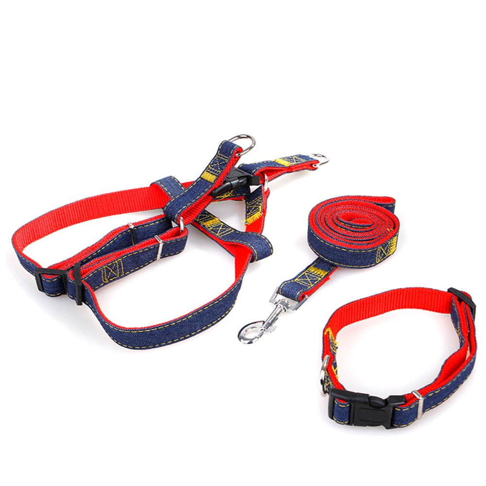 Hello My Life&Pet Dog Denim Leash Harness Set,Adjustable and Heavy Duty Durable for Training Walking Running,Dog Collar/Chest Straps for Pets (XL, Red-Chest Straps+Collar)