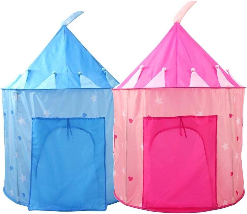 KQYAN- Tienda de campaña Princess Castle Play Tent - Casa de Juegos Interior/Exterior para niñas, con Estuche para Transporte y Almacenamiento fáciles (Color : Pink) Blue