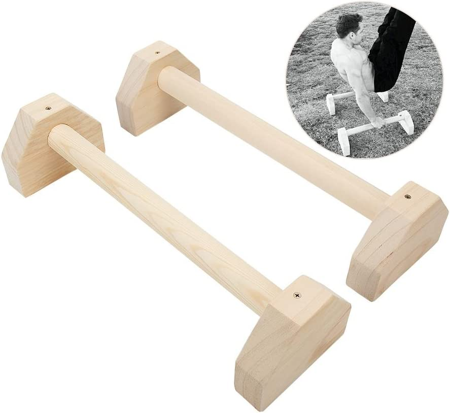Activane Wooden Push up Bar Brackets Stretch Stand Single Double Bars Calisthenics Handstand Personalised Bars Gymnastics Strength Training Style Fitness Equipment for Bodyweight Home