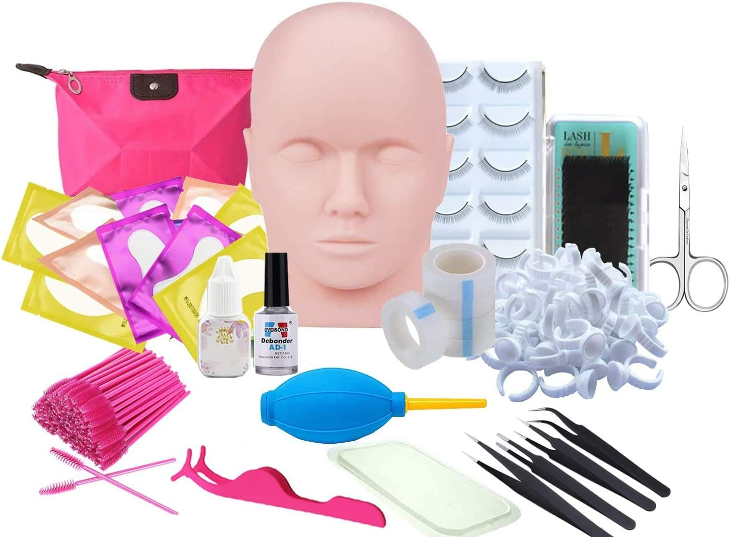Eyelash Extension kit, Missicee Eyelash Training Kit Professional Eyelash Practice Head Kit for False Eyelashes Extensions, Massage Practicing, Practice Make Up with a Bag