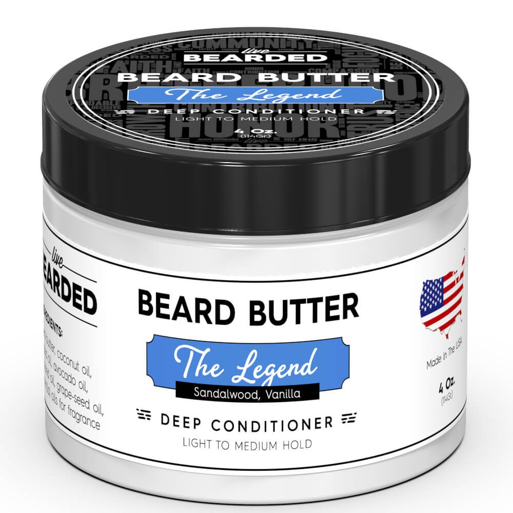 Sandalwood Beard Butter with hint of Vanilla | Live Bearded Made in USA | The Legend All Natural Beard Butter by Live Bearded (Image #1)