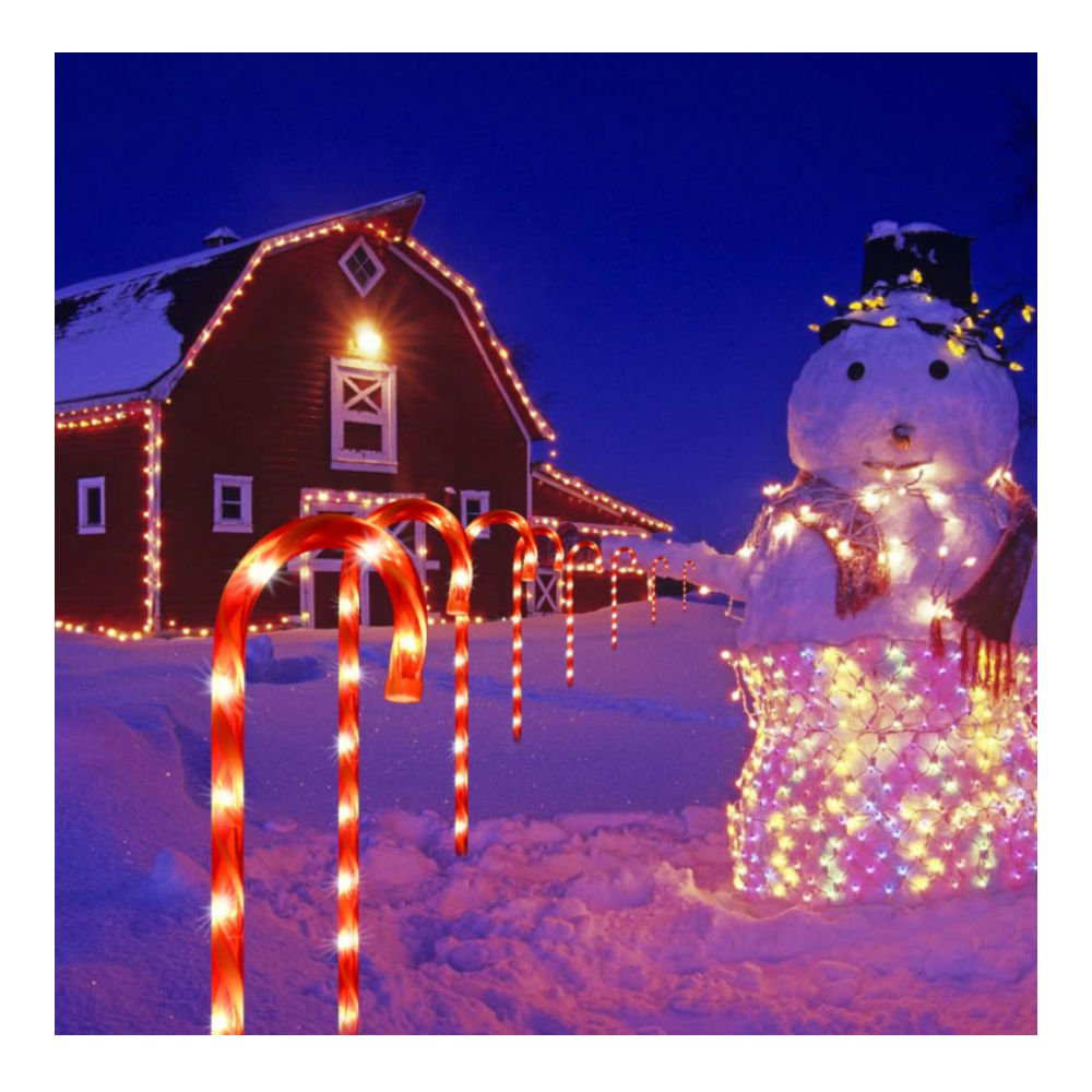 10Pcs CANDY CANE Pathway Lights DRIVEWAY MARKERS Christmas OUTDOOR YARD DECOR US