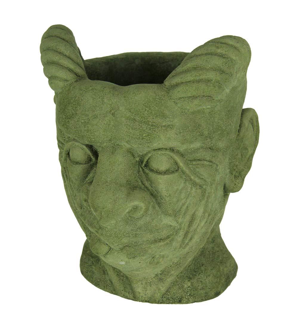 Designer Pietra Mossy verde Small Gargoyle Head Concrete Planter