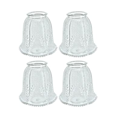 Aspen Creative 23007-4 2-1/4  Fitter Size 4-1/4  high x 4-1/8  Diameter Transitional Style Replacement Bell Shaped Clear Glass Shade with Floral Pattern (4 Pack)