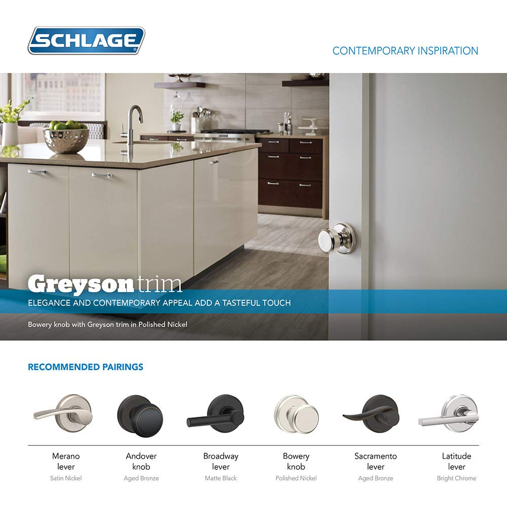 Schlage F10-BWE-GSN Bowery Passage Door Knob with Decorative Greyson Rose from t Satin Chrome
