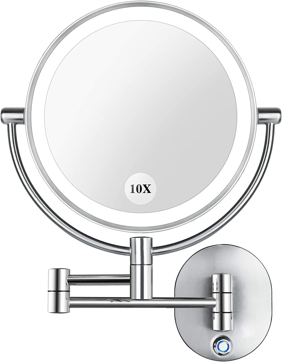 AmnoAmno 10X Lighted Wall Mounted Magnifying Makeup Mirror
