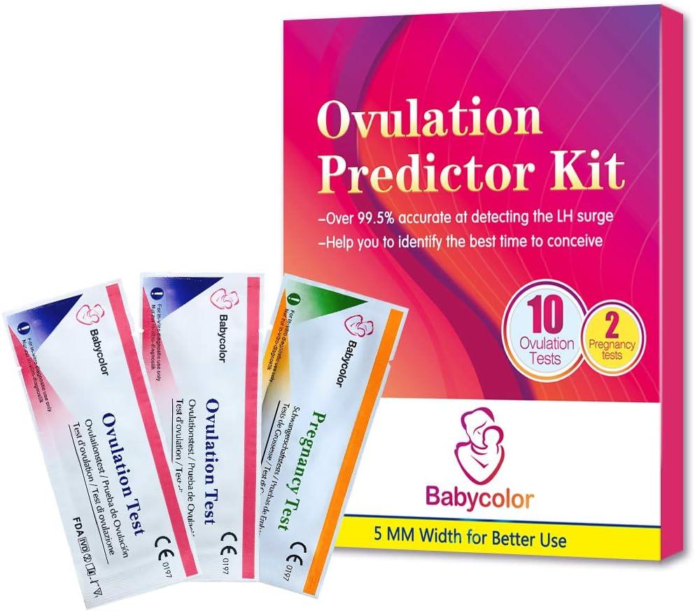 10 Pruebas de Ovulación ultrasensibles (20mlU/ml) y 2 Tests de Embarazo de alta sensibilidad (10mlU/ml) - Formato 5 MM, Kits de Tests de Ovulación y Fertilidad