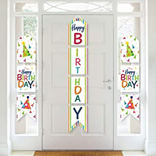 product image for Big Dot of Happiness Cheerful Happy Birthday - Hanging Vertical Paper Door Banners - Colorful Birthday Party Wall Decoration Kit - Indoor Door Decor
