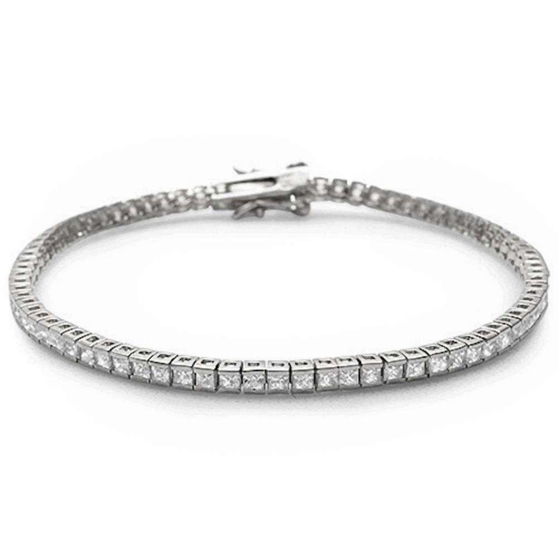 Half Bezel Tennis Bracelet 7'' Princess Cut Square Simulated Cubic Zirconia 925 Sterling Silver