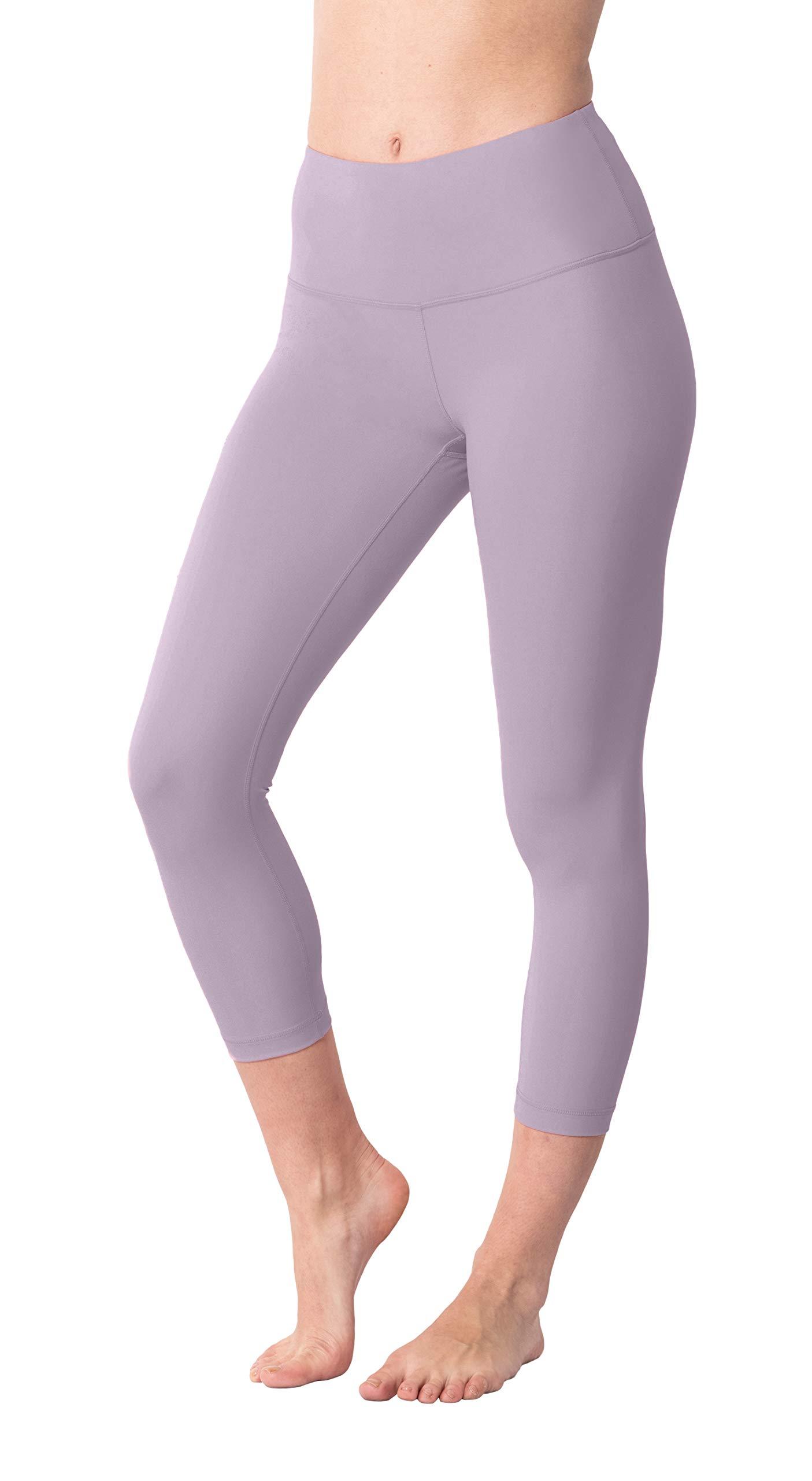 Yogalicious High Waist Ultra Soft Lightweight Capris - High Rise Yoga Pants - Iced Mauve - XS