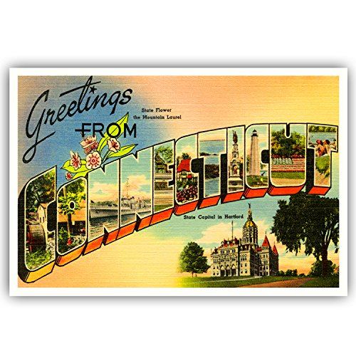 GREETINGS FROM CONNECTICUT vintage reprint postcard set of 20 identical postcards. Large letter US state name post card pack (ca. 1930's-1940's). Made in - Connecticut Post