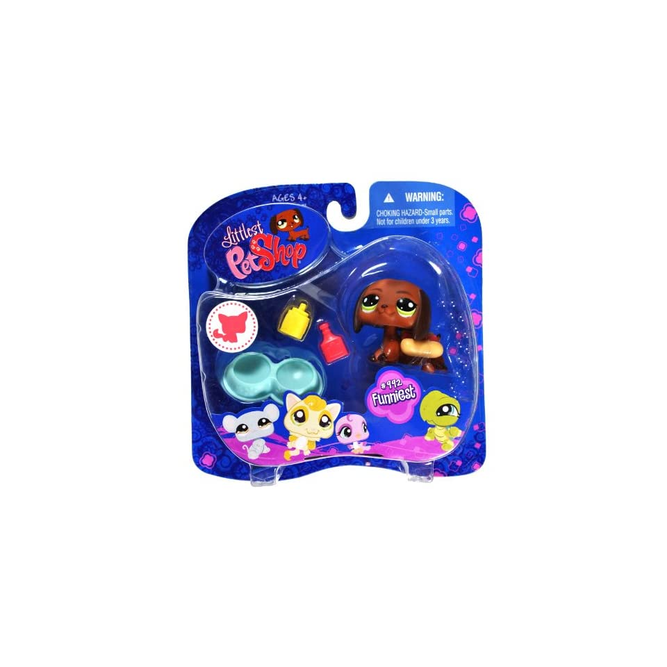 Hasbro Year 2008 Littlest Pet Shop Portable Pets Funniest Series Bobble Head Pet Figure Set #992   Brown DASCHUND Puppy Dog with with Mustard And Ketchup Bottle, Double Dog Bowl And Hot Dog Bun Costume (91851)