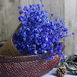 Quaanti Babys Breath Artificial Flowers, Gypsophila Natural Dried Flower Sky Star,Real Touch Flowers for Wedding Party Home Garden Decoration (Blue B) 2