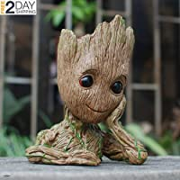 "-=LiU=- Baby Groot Succulent Planter Flower Pots 6"" Decorative Garden Planters Outdoor Indoor, Unbreakable Plant Holder With Drain Hole, Best Gifts For Friends New 2018 Model"