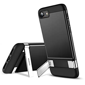 ESR iPhone 8 Case, iPhone 7 Case, Metal Kickstand Case [Vertical and Horizontal Stand] [Reinforced Drop Protection] Hard PC Back with Flexible TPU Bumper for iPhone 8(2017)/iPhone 7(2016)(Black)