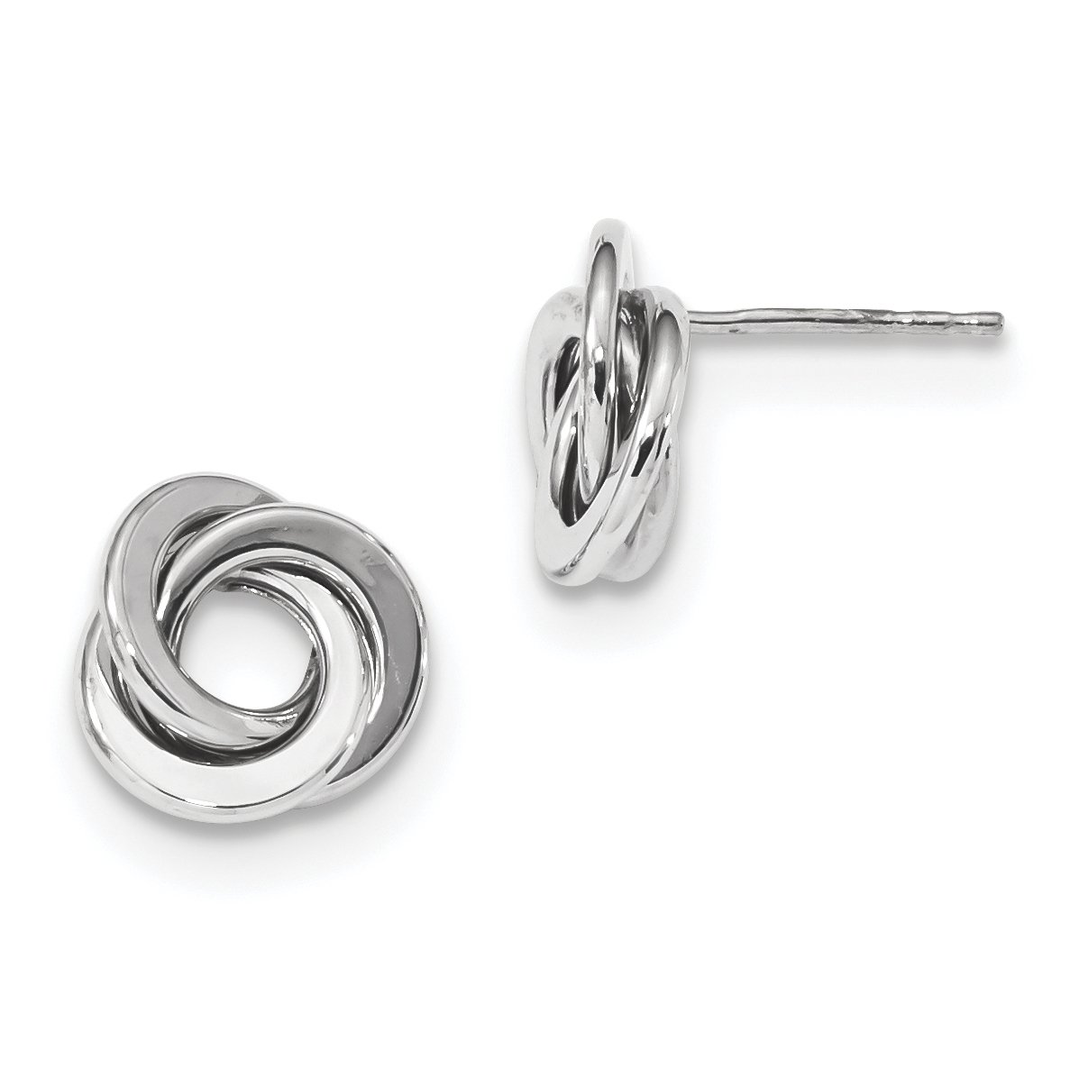 ICE CARATS 14k White Gold Love Knot Post Stud Ball Button Earrings Fine Jewelry Gift For Women Heart