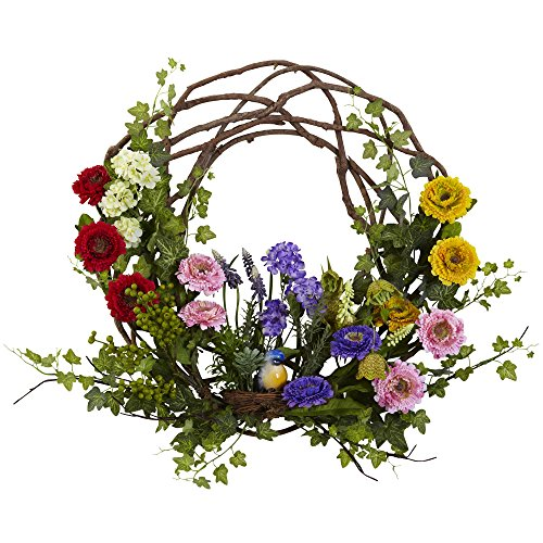 Nearly Natural 4988 Spring Floral Wreath, 22-Inch