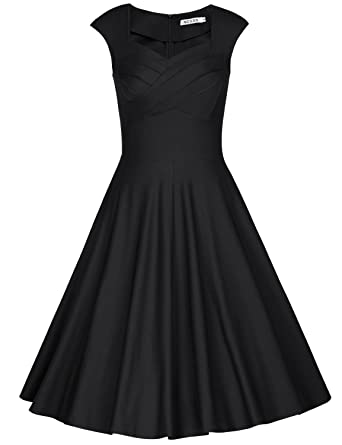 43eb990954 Amazon.com  MUXXN Women s 1950s Retro Vintage Cap Sleeve Party Swing ...