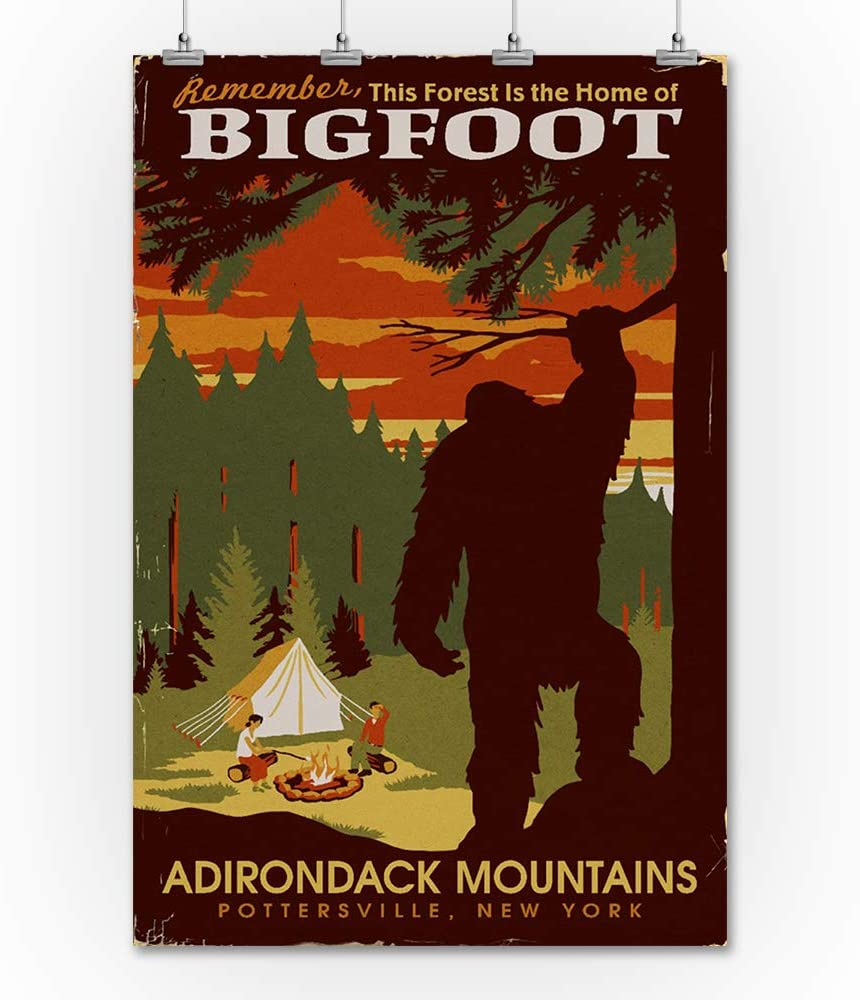 24x36 Giclee Gallery Print, Wall Decor Travel Poster Adirondack Mountains Pottersville Home of Bigfoot NY WPA Style