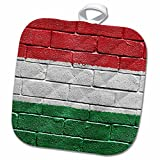 3dRose Carsten Reisinger Illustrations - National flag of Hungary painted onto a brick wall Hungarian - 8x8 Potholder (phl_155244_1)