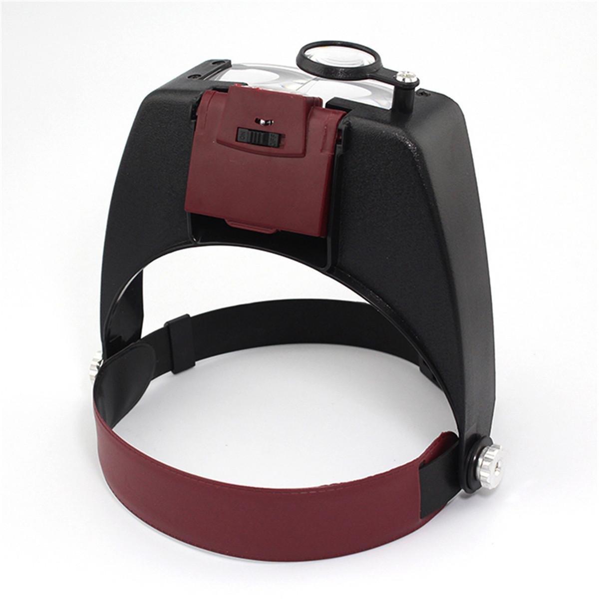 Headband LED Light Magnifier Headset Adjustable Lens Headlamp Magnifying Tool Jeweler Loupe Reading Glasses with Light