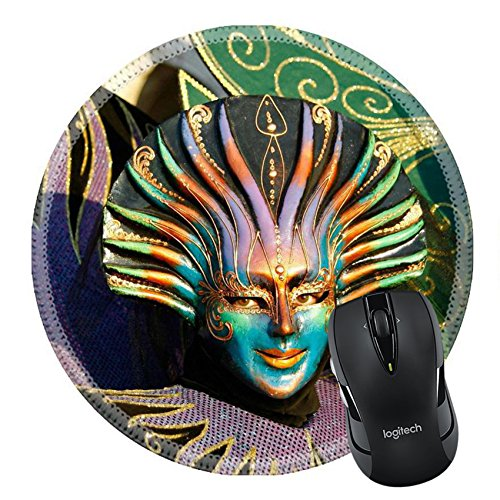 Carnevale Costumes Italy (MSD Natural Rubber Mousepad Round Mouse Pad/Mat: 4232107 During the Carnival hundreds of people wearing wonderful colourful costumes and masks come to Venice from all over the)