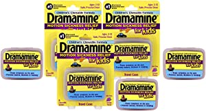 Dramamine Motion Sickness Relief for Kids, Chewable Grape, 8 Count, pack of 3
