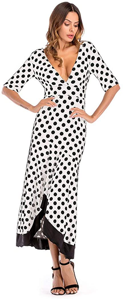 Womens V Neck Polka Dot Split Evening Dresses Boho Short Sleeve Beach Maxi Dress