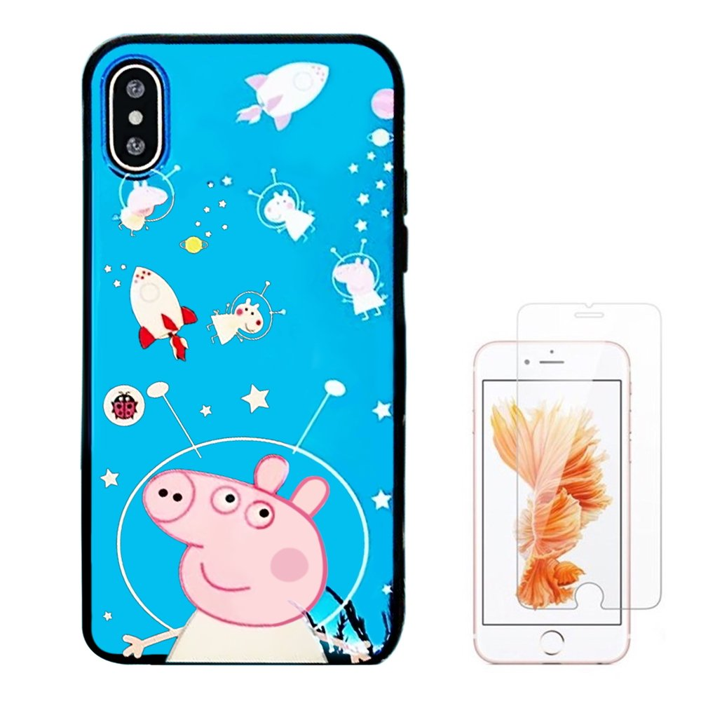 super popular 1cb50 2fc7e Liquid case for iPhone 6/6 Plus/iPhone 7/7 Plus/iPhone 8/8 Plus/iPhone x/10  Luxury Sparkle Stars Transparent Plastic Case with Screen Protector (Pig ...
