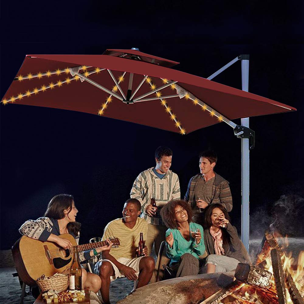 Aquelo Patio Umbrella Lights,Battery Operated String Lights Led for Garden Umbrellas, Camping Tents or Outdoor Using