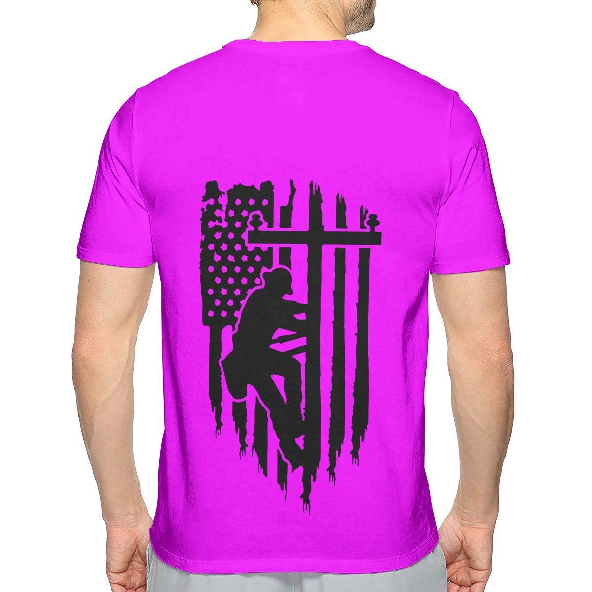 JJKKFG-H American Lineman Flag Mens Fashion Short Sleeve Tshirt
