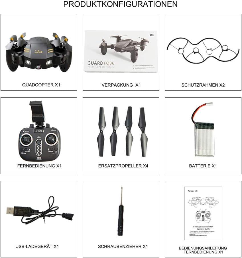 2,4 G 6-Achsen Kopflos-Modus H/öhe halten EIN-Tasten-R/ückkehr 3D-Flips und Rollen Spielzeug ScharkSpark Drohne-Guard f/ür Anf/änger Tragbarer RC-Quadcopter Drohne mit 1080P FPV HD Kamera//Video