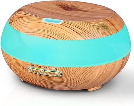 Difusor de Aceites Esenciales purificador de aire con LED con Luces LED Cambiantes de 7 Colores 300ml Difusor de Aceite Esencial Difusor de Aromaterapia