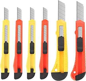 DIYSELF 6 Pack Box Cutters Assorted Sizes (9MM /18MM Wide Blade Cutter) Utility Knife Retractable, Compact, Extended Use for Heavy Duty Office, Home, Arts Crafts, Hobby