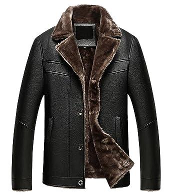 b6b25aa1610db Fensajomon Mens Winter Thicken Faux Fur Lined PU Leather Moto Biker Jacket  Coat Black XS