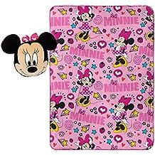 """Disney Minnie Mouse Doodle Nogginz Pillow with 40"""" x 50"""" Travel Blanket Set"""