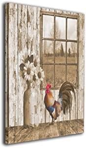 Ale-art Wall Art Decor Giclee Daisy Flowers Rooster Country Farmhouse Oil Paintings Ready to Hang for Living Room Bedroom Bathroom 16'' X 20''