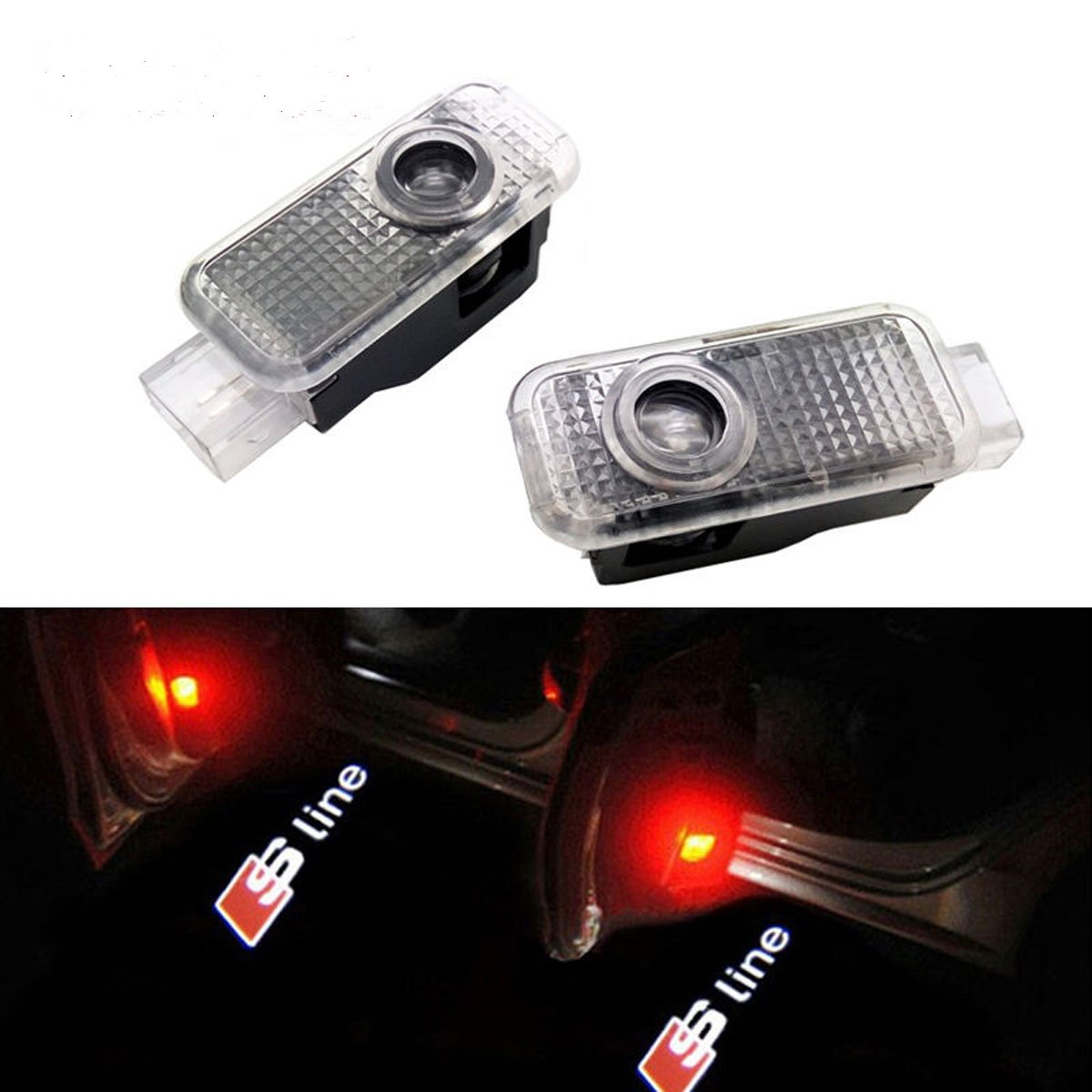 CNAutoLicht 2X Cree LED S Line Logo Door Step Light Laser Shadow Logo Projector Lamp For Audi A2 A3 A4 A5 A6 A7 A8 Q2 Q3 Q6 Q5 Q7 R8 TT RS4 RS5 RS6 RS7 S3 S4 S5 S6 S7 S8 Courtesy Light Welcome Light