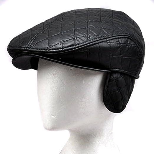86c41799dd3 Image Unavailable. Image not available for. Color  LOCOMO Faux Leather  Black Velvet Inside Folding Ear Flap Flat Cap FFH218s57