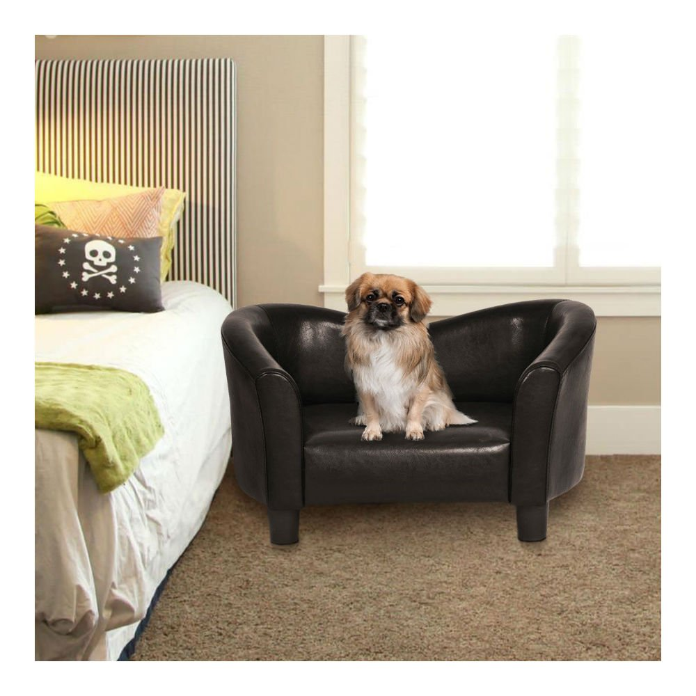 PU Leather Pet Sofa Lounge Durable Snuggle Dog Puppy Sleeping Bed Dark Brown