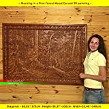 68''/172cm Wood carved 3D picture Morning in a Pine Forest, icon orthodox catholic art frame